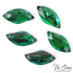 Листик Diamond Leaf  Emerald  9*20 mm